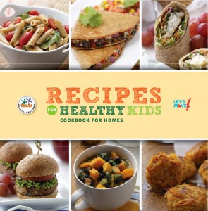 Six pictures of entrees make up front of cookbook