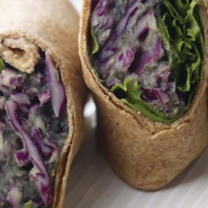 Close-up of purple cabbage tortilla wraps