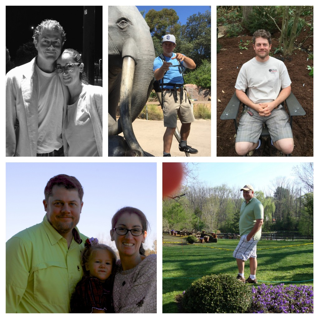 Top Left, Matthew Chappell and wife today, clockwise, Chappell and family during his health journey