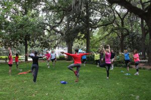 Yoga at Forsyth Park, Savannah